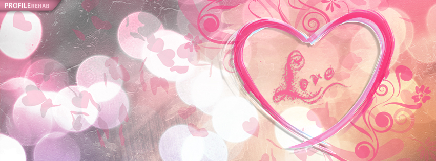 Orange and Pink Love Facebook Cover - Valentine Banner