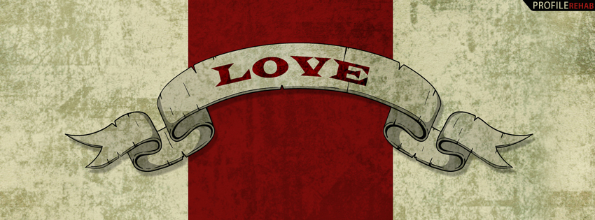 Beige and Red Love Facebook Cover