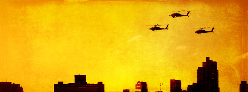 Helicopters Over the City Facebook Cover