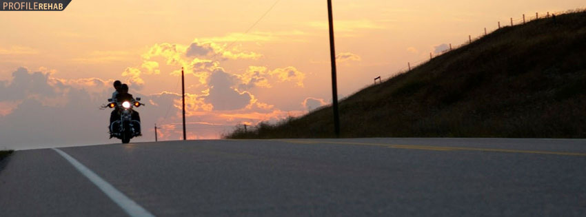 Motorcycle In Sunset Facebook Cover