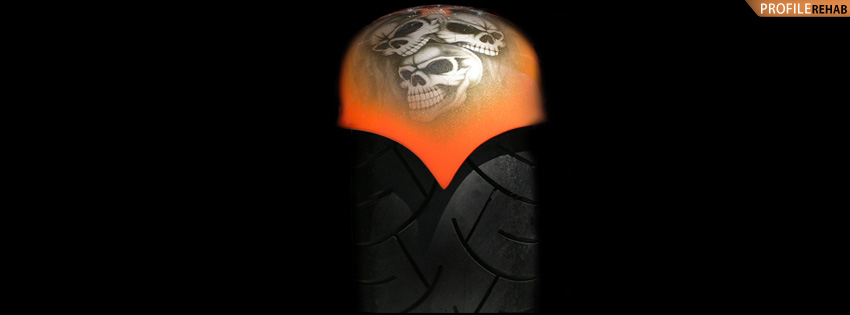 Skull Motorcycle Tire Facebook Cover