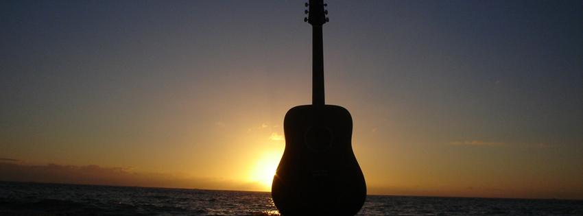 Guitar in Sunset Timeline Cover for Facebook