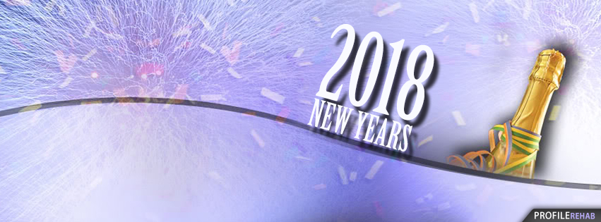 Sparkling Champagne and Confetti New Year Facebook Cover