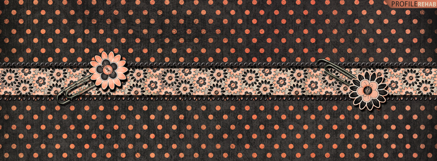 Pink & Black Flower Polkadots Facebook Cover for Timeline