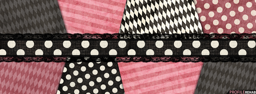 Pink & Black Stripes and Polkadot Facebook Cover