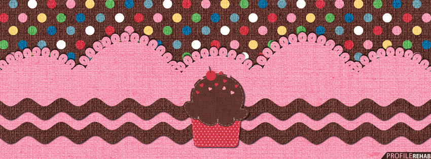 Brown & Pink Polkadot Cupcake Facebook Cover