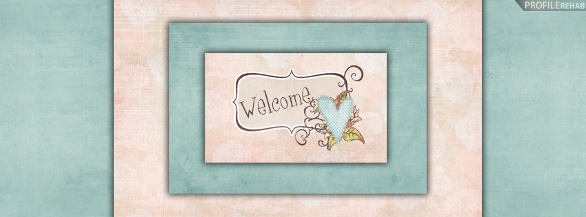 Peach & Blue Welcome Timeline Cover Preview
