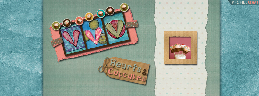 Cupcakes and Hearts Facebook Cover for Timeline