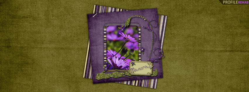 Purple & Green Flowers Cover for Facebook with Memories Quote