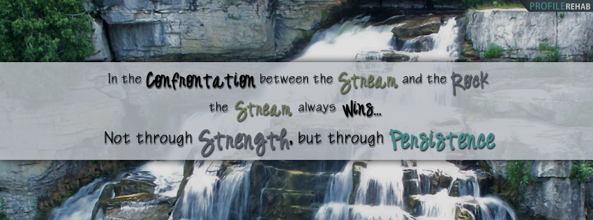 Waterfall Quote About Persistence Facebook Cover
