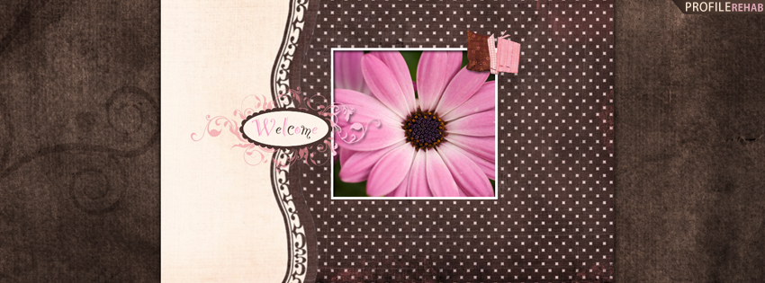 Brown & Pink Flower Welcome Cover for Facebook