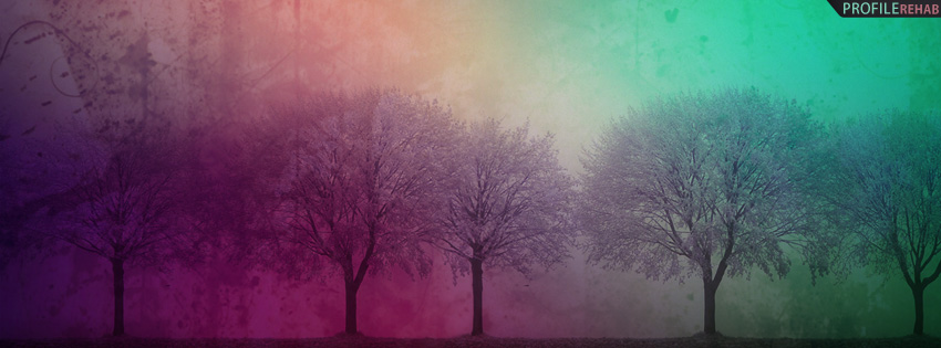 Rainbow Grunge Trees Facebook Cover