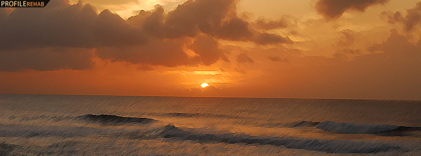 Painted Hawaiian Sunset Facebook Cover - Ocean Sunset Images - Ocean Sunset Pictures