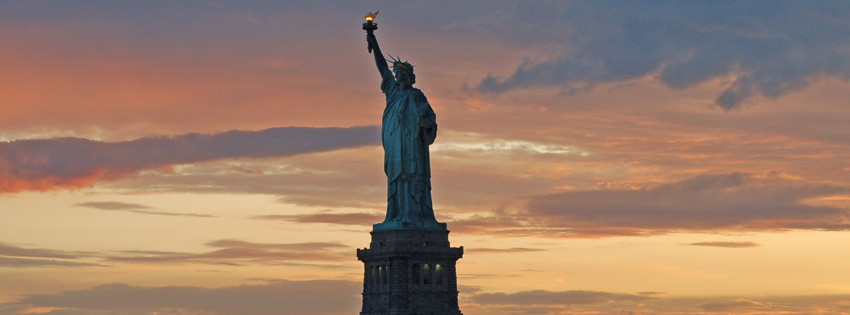 Statue of Liberty in Sunset Facebook Cover