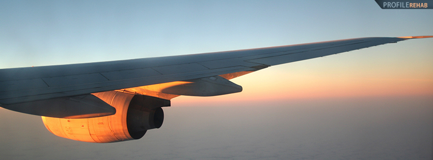 Airplane Wing in Sunset Facebook Cover