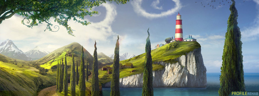 Scenic Artistic Lighthouse Facebook Cover