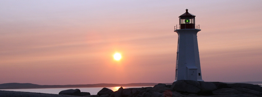 Lighthouse in Sunset Facebook Cover