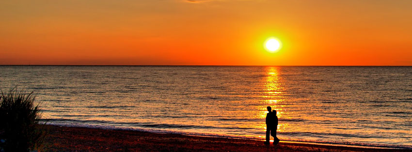 Lovers at Sunset Facebook Cover - Romantic Images of Couples