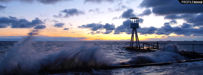Ocean Waves Sunset Facebook Cover