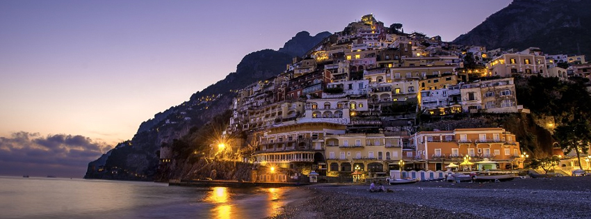 Positano Italy at Night Facebook Cover