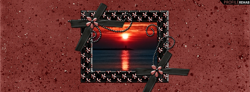Maroon Sunset Timeline Cover with Flowers