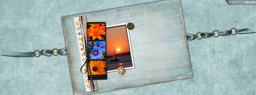 Flowers and Sunset over Sail Boat Facebook Cover