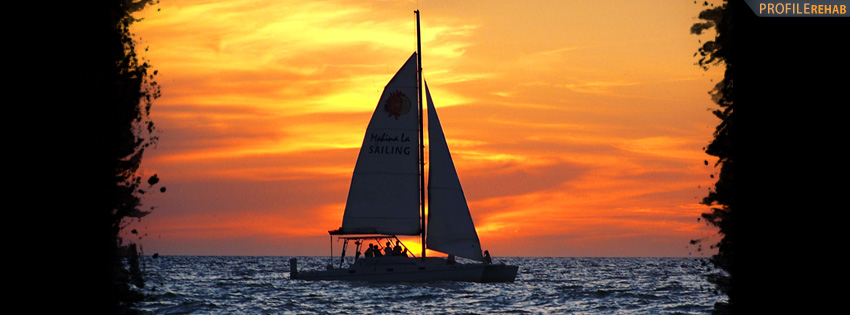 Sail Boat in Sunset Facebook Cover