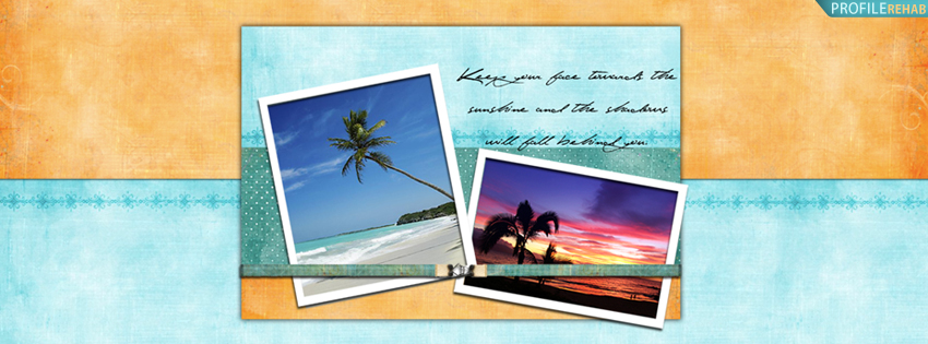 Scenic Palm Tree Facebook Cover with Quote