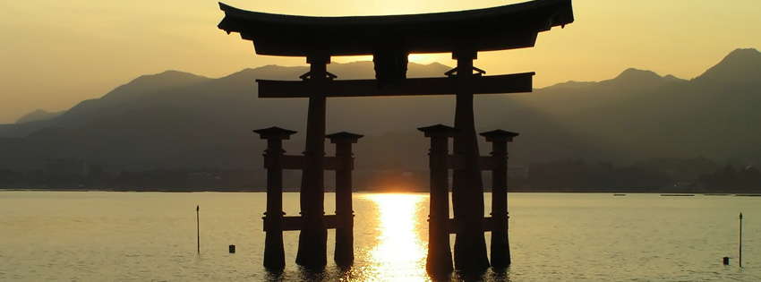 Itsukushima Shrine Torii Japan Facebook Cover Preview