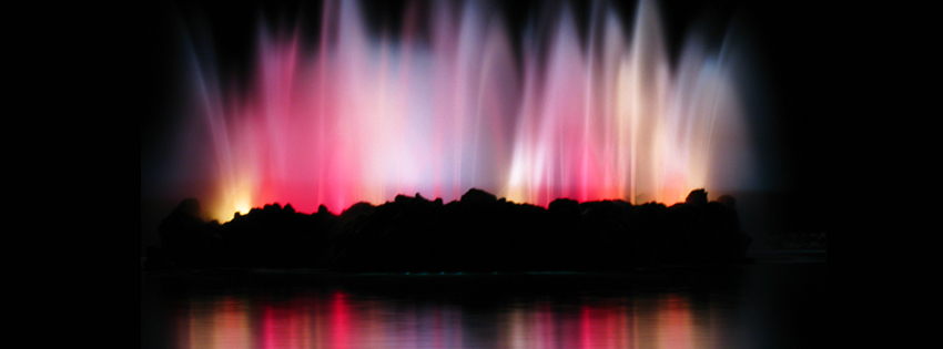 Rainbow Colored Water Fountain Facebook Cover