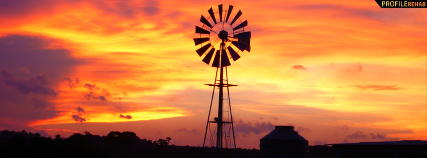Windmill in Sunset Facebook Cover