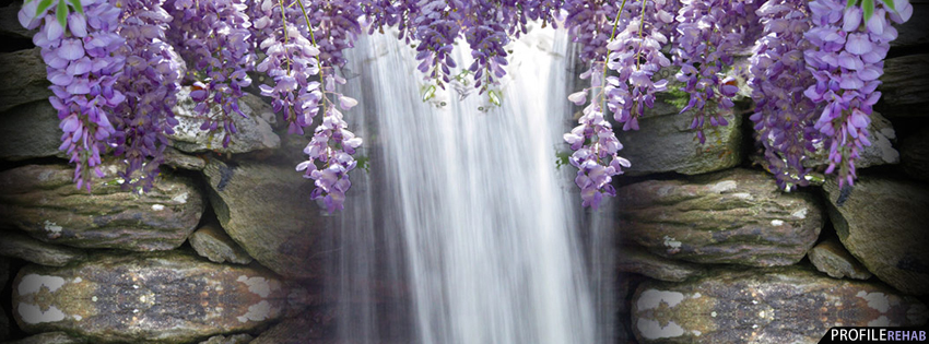 Purple Wisteria Waterfall Facebook Cover