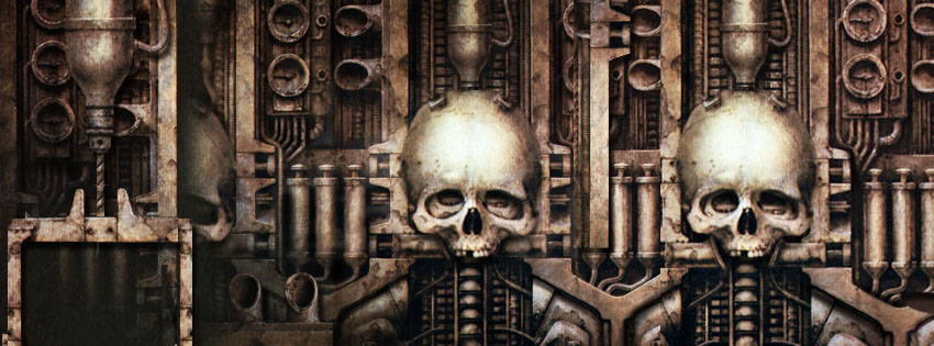 Cool Giger Skull Facebook Cover - Cool Art Halloween Images - Free Halloween Art Pictures Preview