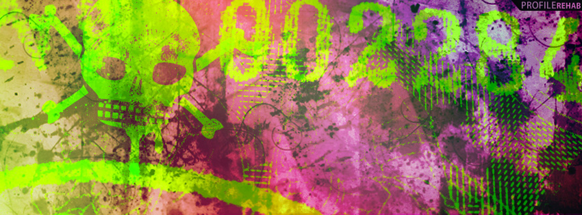 Pink & Green Grunge Skulls Facebook Cover
