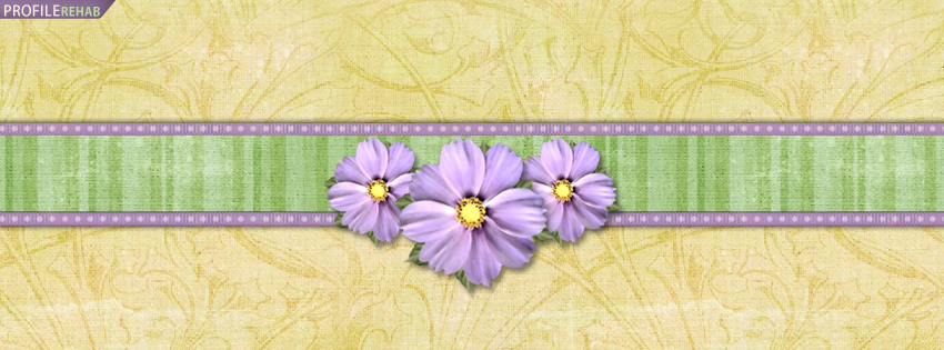 Purple & Green Flowers Facebook Cover