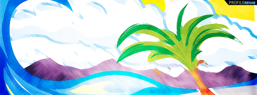Palm Tree Painting Facebook Cover Preview