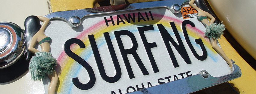 Surfing License Plate Facebook Cover