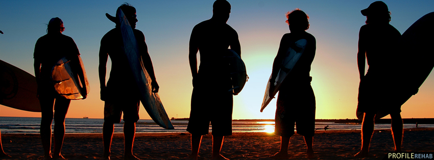 Cool Surfers in Sunset Facebook Cover