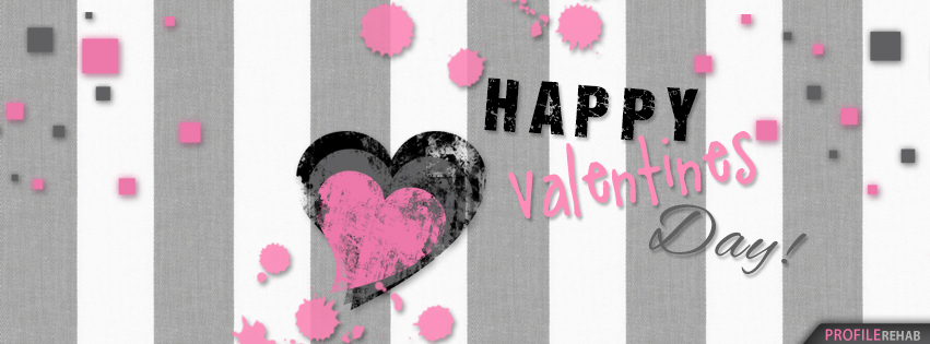 Pink and Grey Happy Valentines Day FB Cover - Happy Valentines Day Pics for Facebook