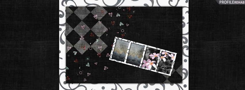 Gray and Pink Flowers Vintage Cover for Facebook Timeline