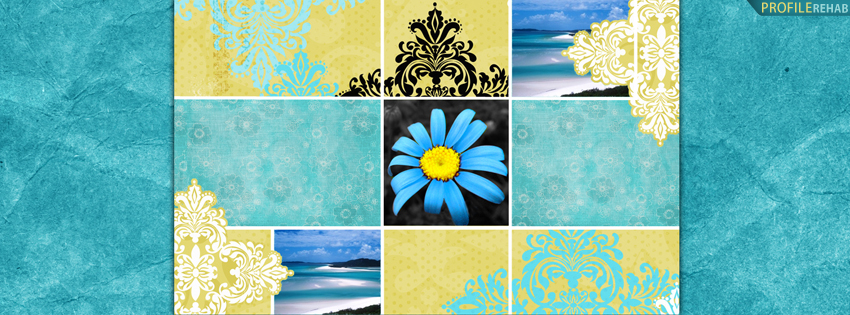 Blue & Yellow Victorian Facebook Cover for Timeline