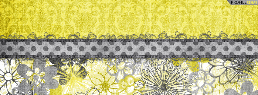 Gray & Yellow Vintage Flowers Cover for Facebook