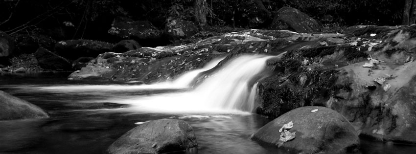 Black and White Waterfall Facebook Cover