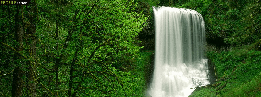 Green Waterfall Facebook Cover