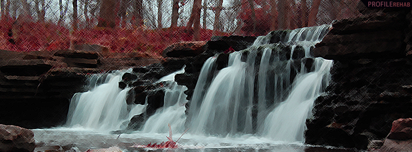 Painted Autumn Waterfall Facebook Cover Preview