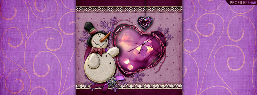 Purple Winter Snowman Facebook Cover