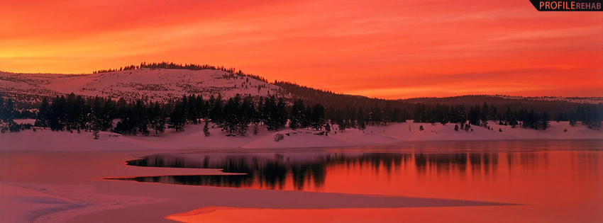 Red Winter Scenery Facebook Cover