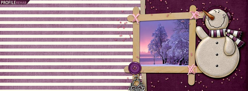 Purple Snowman Scenic Facebook Cover Preview
