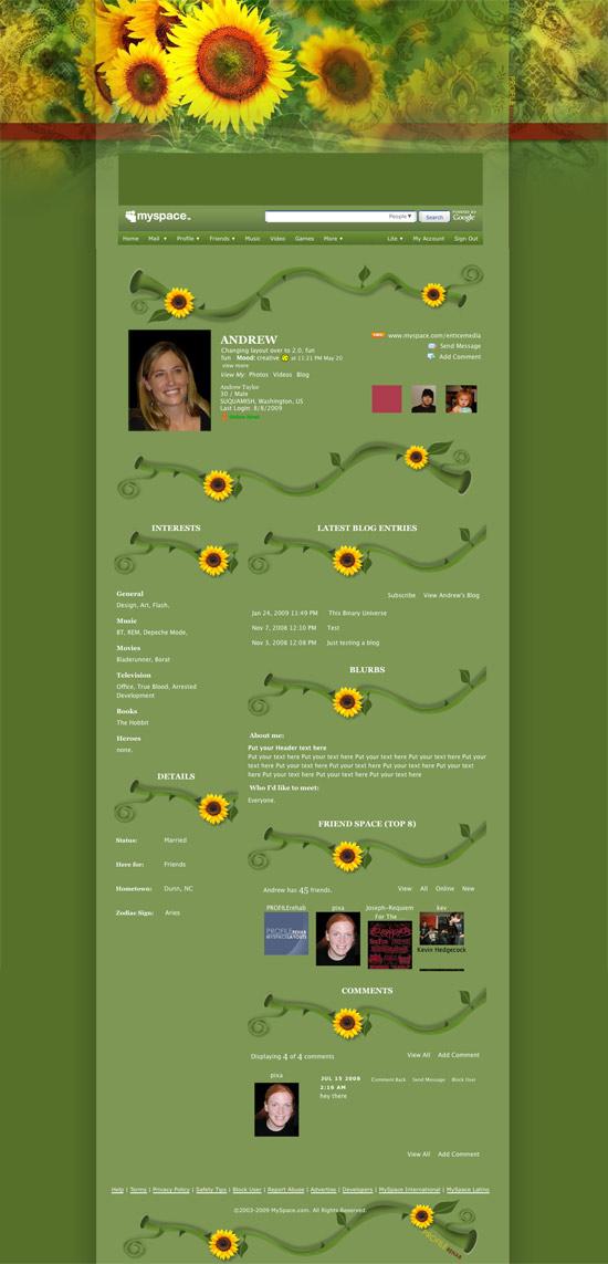 Yellow Sunflower Layout for Myspace - Pretty Sunflower Theme