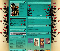 Growing Hearts Myspace Layout  - Hearts on Vine Layout